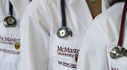 McMaster medical students in white coats